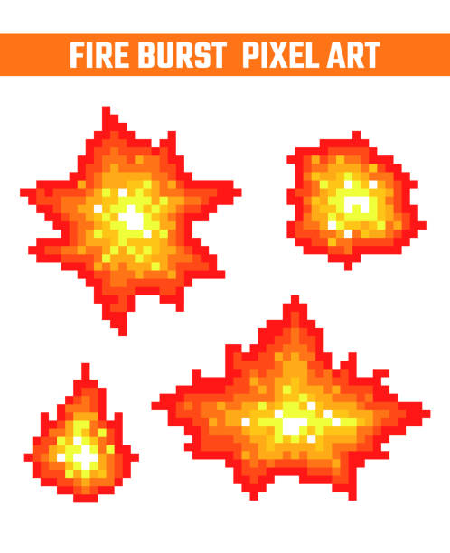Fire flames pixel icons set. Fire burst pixel icons set. Old school computer graphic style. shooting a weapon stock illustrations