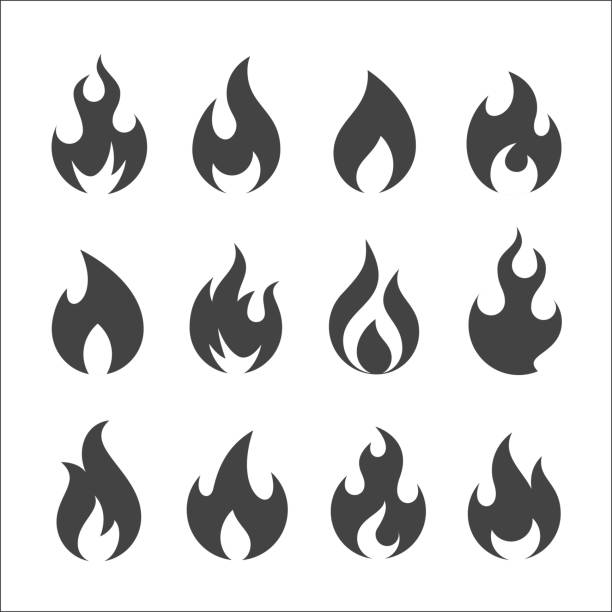 Fire flames, set vector icons Set of twelve round flame vector icons topics stock illustrations