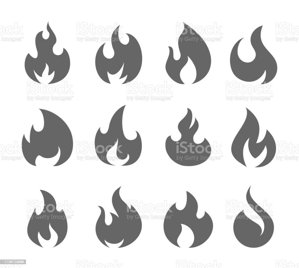 Feu flammes Set - clipart vectoriel de Abstrait libre de droits