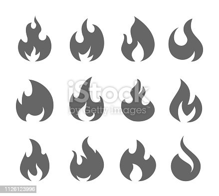 Vector illustration of the fire flames set.