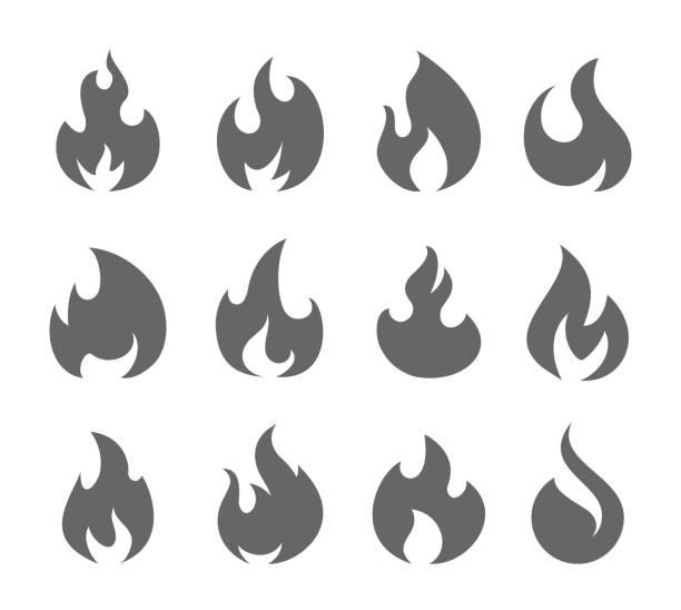 illustrations, cliparts, dessins animés et icônes de feu flammes set - flamme