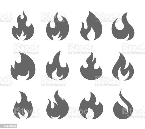 Feu Flammes Set Vecteurs libres de droits et plus d'images vectorielles de Abstrait