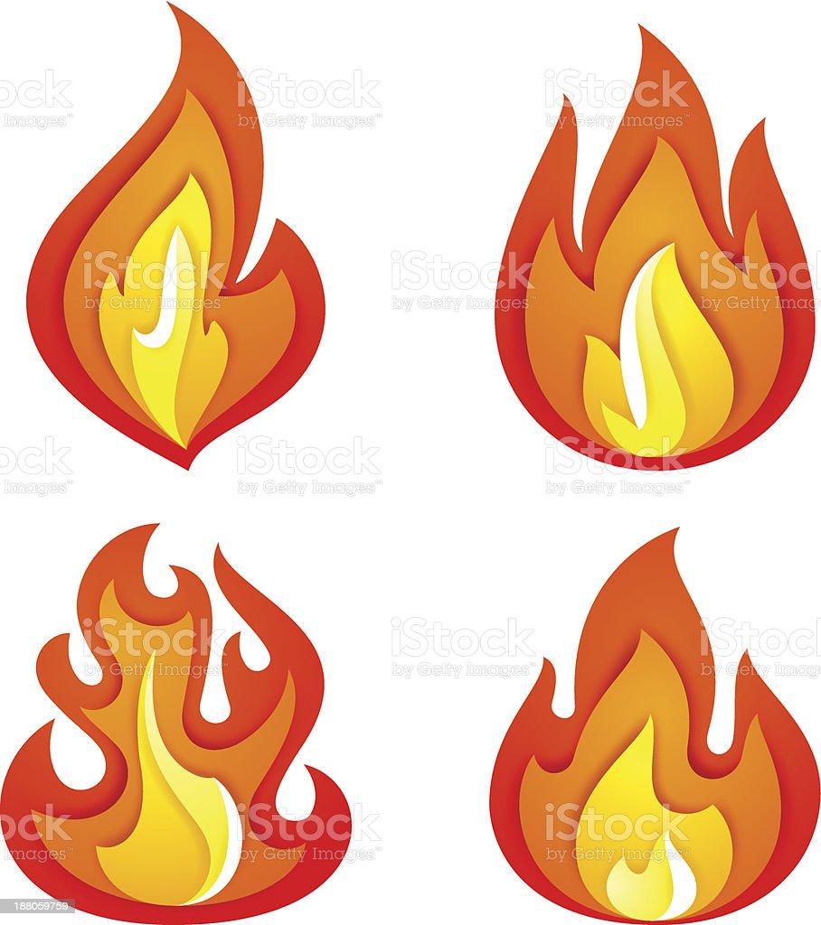 Fire flames set royalty-free stock vector art