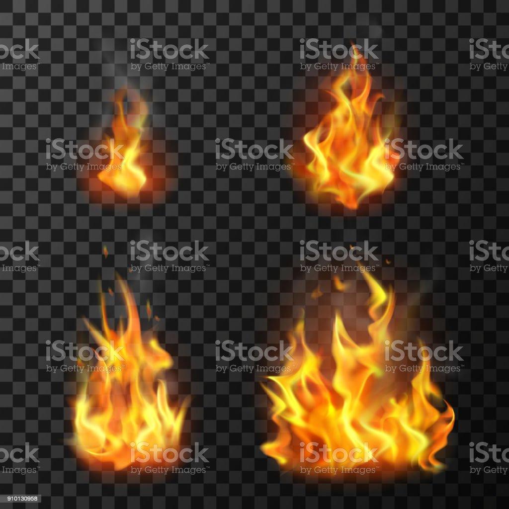 Fogo chamas conjunto - ilustração de arte em vetor
