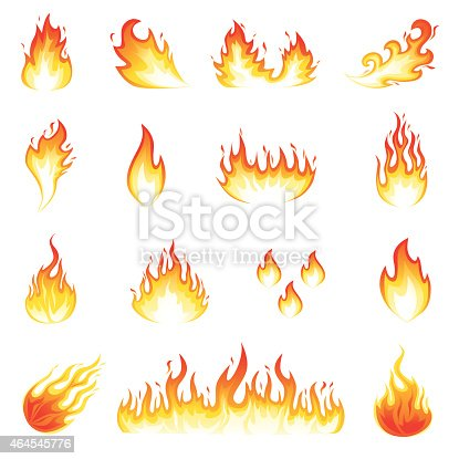 Illustration of a set of fire elements and flames.