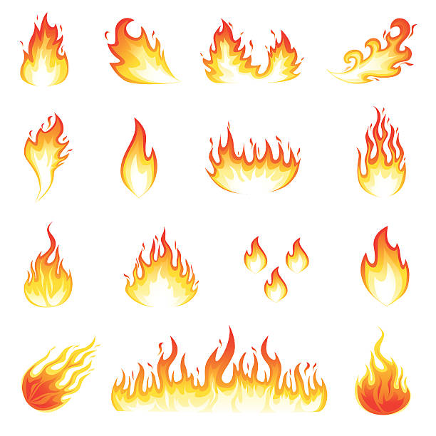 Fire Flames Illustration of a set of fire elements and flames. flame stock illustrations