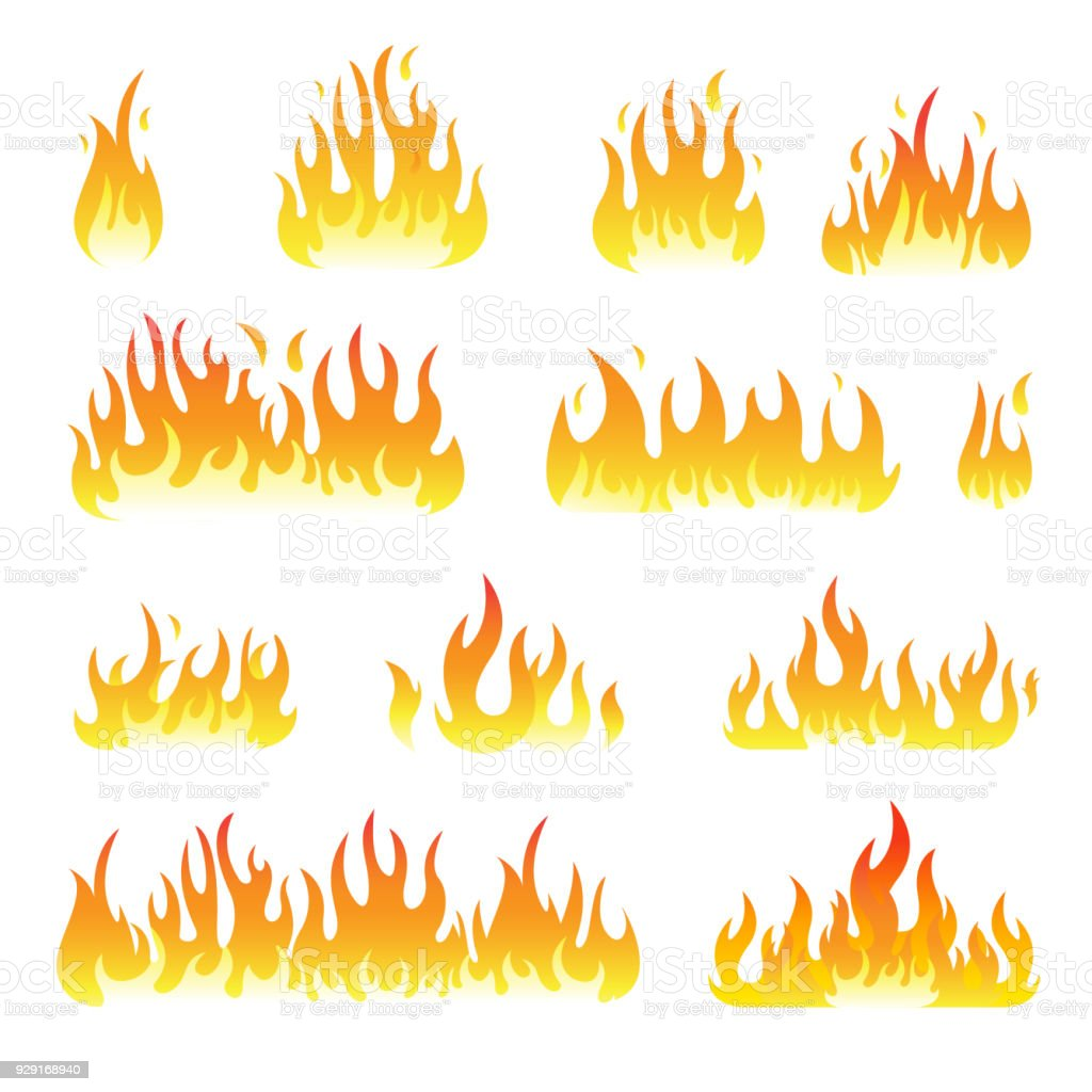 Fire flames vector set isolated on black background vector art illustration