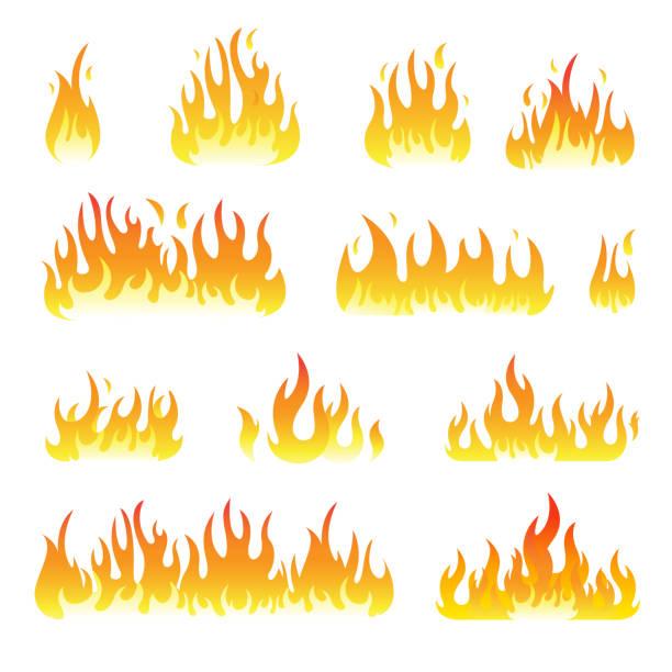 Feu flammes set vector isolée sur fond noir - Illustration vectorielle