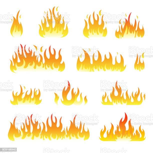 Feu Flammes Set Vector Isolée Sur Fond Noir Vecteurs libres de droits et plus d'images vectorielles de Barbecue