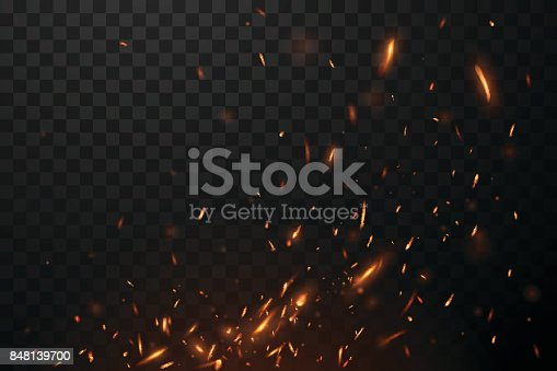Fire flying sparks in vector