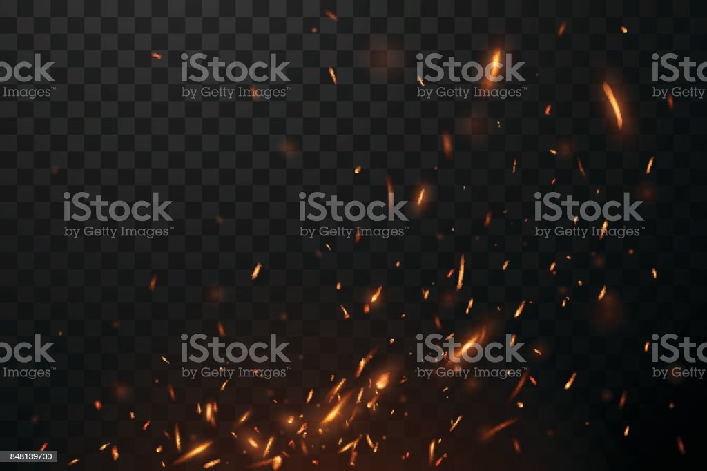 Fire flying sparks vector art illustration