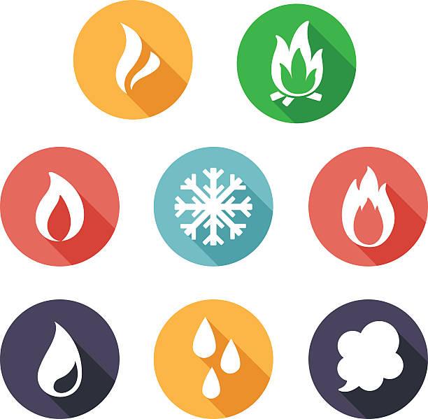illustrazioni stock, clip art, cartoni animati e icone di tendenza di fuoco, congelare, bagno turco, acque icone. piatto stile - ice on fire