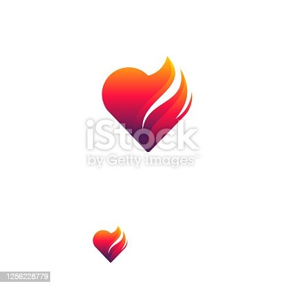 istock Fire Heart Logo designs concept vector, Love Fire logo symbol icon 1256228779