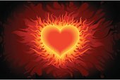 Illustration of Beautiful Fire heart background,all elements are individual objects. No transparencies. Hi res jpeg included. User can edit easily.
