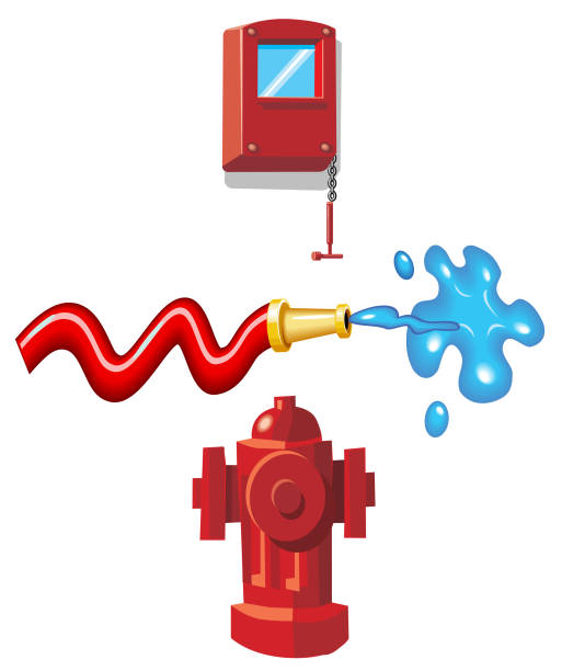 Fire Hose  Hydrant Alarm Fire Hose fire hose stock illustrations