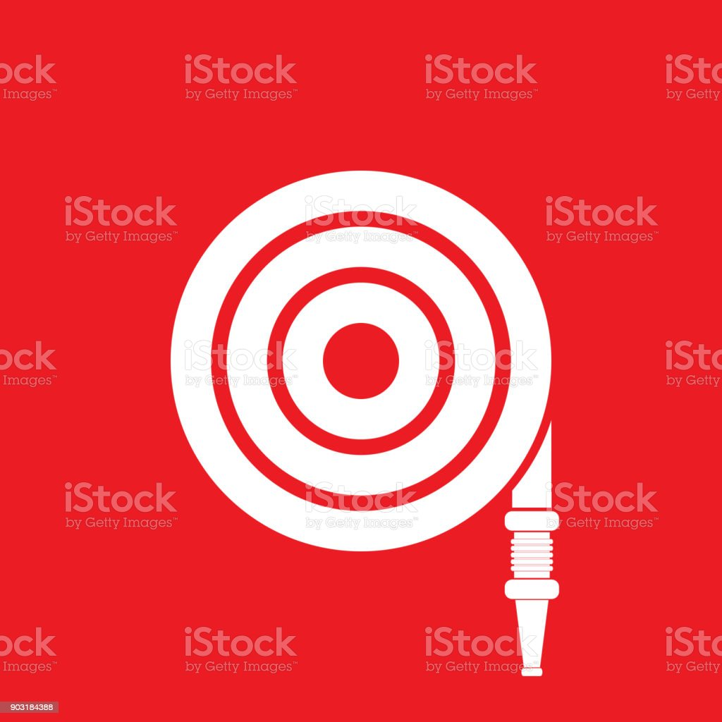 Fire hose reel icon on red background, Fire safety sign vector art illustration