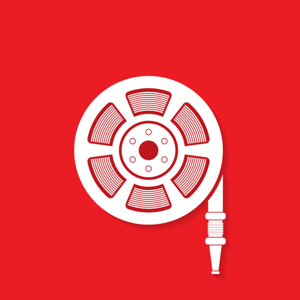 Fire hose reel icon on red background, Fire safety sign Fire hose reel icon on red background, Fire safety sign fire hose stock illustrations
