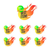 Fire Hot Sale tags set vector badges template Best item, best deal
