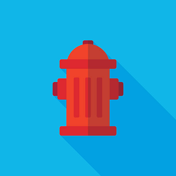 fire hydrant flat long shadow icon - sicherheitsventil stock-grafiken, -clipart, -cartoons und -symbole
