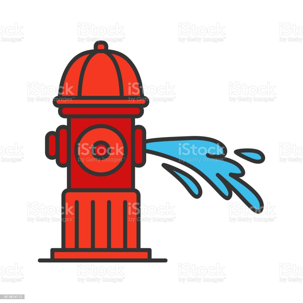 Fire hydrant gushing water vector color icon
