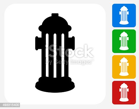Fire Hydrant Icon. This 100% royalty free vector illustration features the main icon pictured in black inside a white square. The alternative color options in blue, green, yellow and red are on the right of the icon and are arranged in a vertical column.