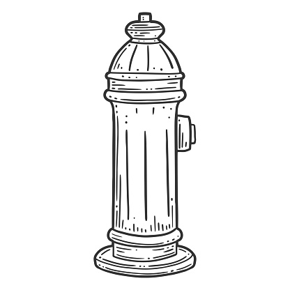 Fire hydrant. Vector concept in doodle and sketch style.