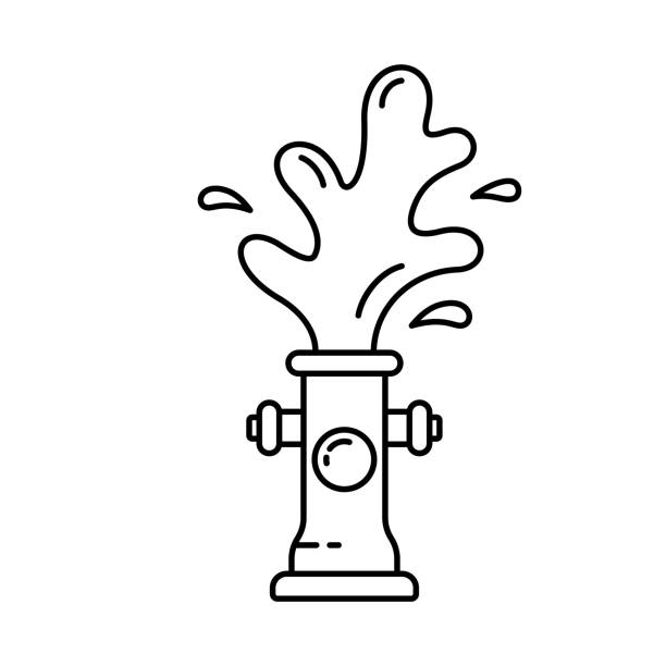 fire hydrant with water fountain. linear icon - tap water stock illustrations
