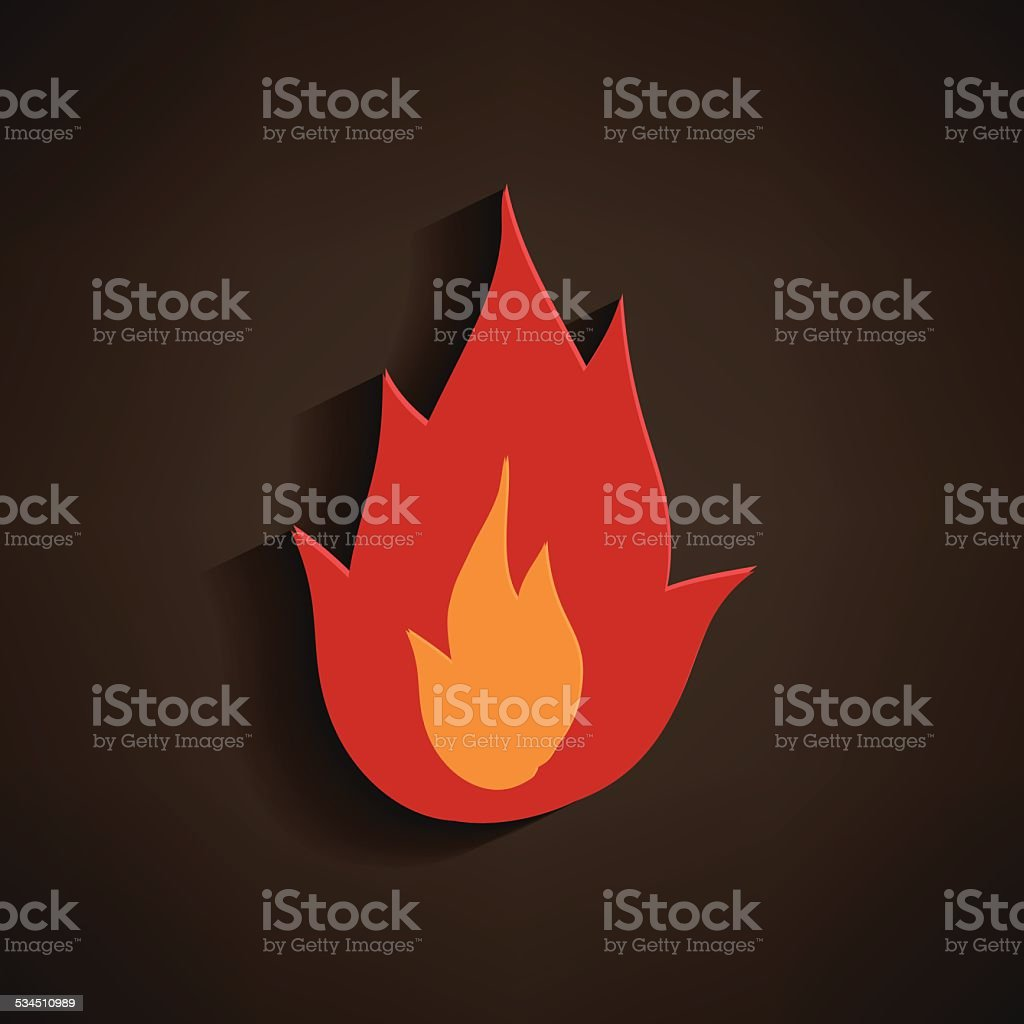 Fire icon - flame icon on grey background. vector art illustration
