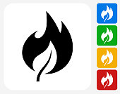 Fire Icon. This 100% royalty free vector illustration features the main icon pictured in black inside a white square. The alternative color options in blue, green, yellow and red are on the right of the icon and are arranged in a vertical column.