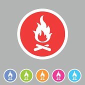 Fire icon flat web sign symbol logo label