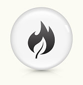 Fire Icon on simple white round button. This 100% royalty free vector button is circular in shape and the icon is the primary subject of the composition. There is a slight reflection visible at the bottom.