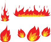 A hand drawn vector illustration set of fire and flames, perfect for your project's decoration.