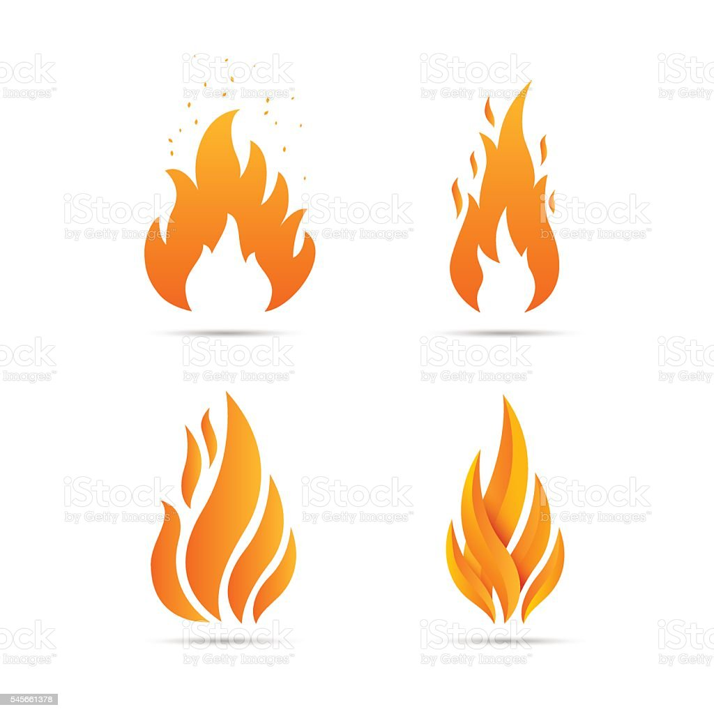 Fire Icon set vector art illustration