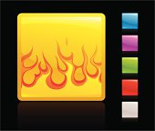 glowing fire icon, 5 other blank colour buttons included