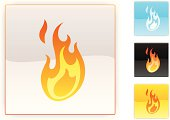 glossy fire icon, 3 other square colour icons included