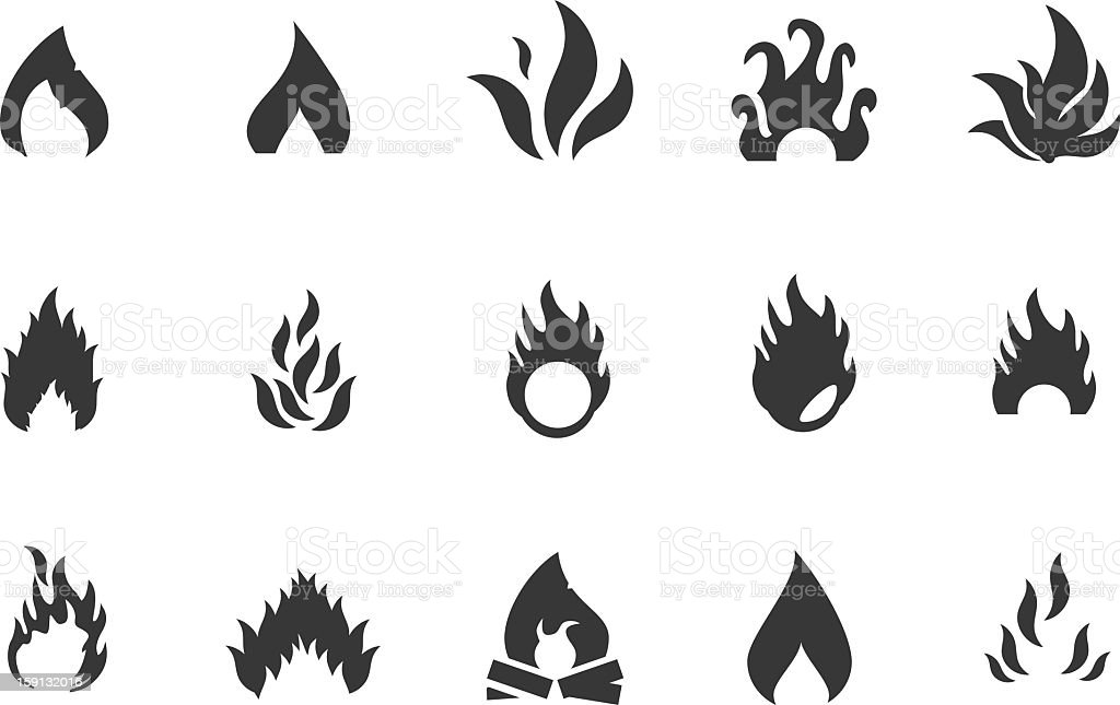 Fire Icons and Symbols vector art illustration