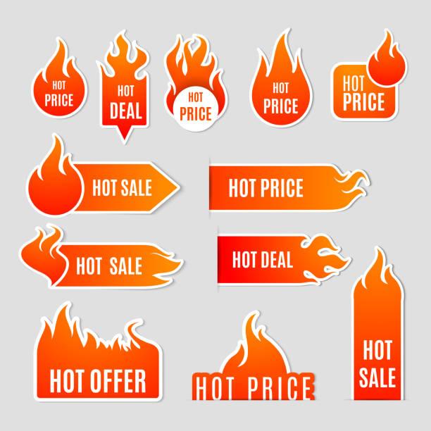 Feuer Symbole Verkaufsetikett – Vektorgrafik