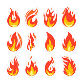 Fire icons set. Simple illustration of fire in flat style. Isolated on white. Collection of hot cartoon light effect elements for web, game, design, app. Vector illustration.