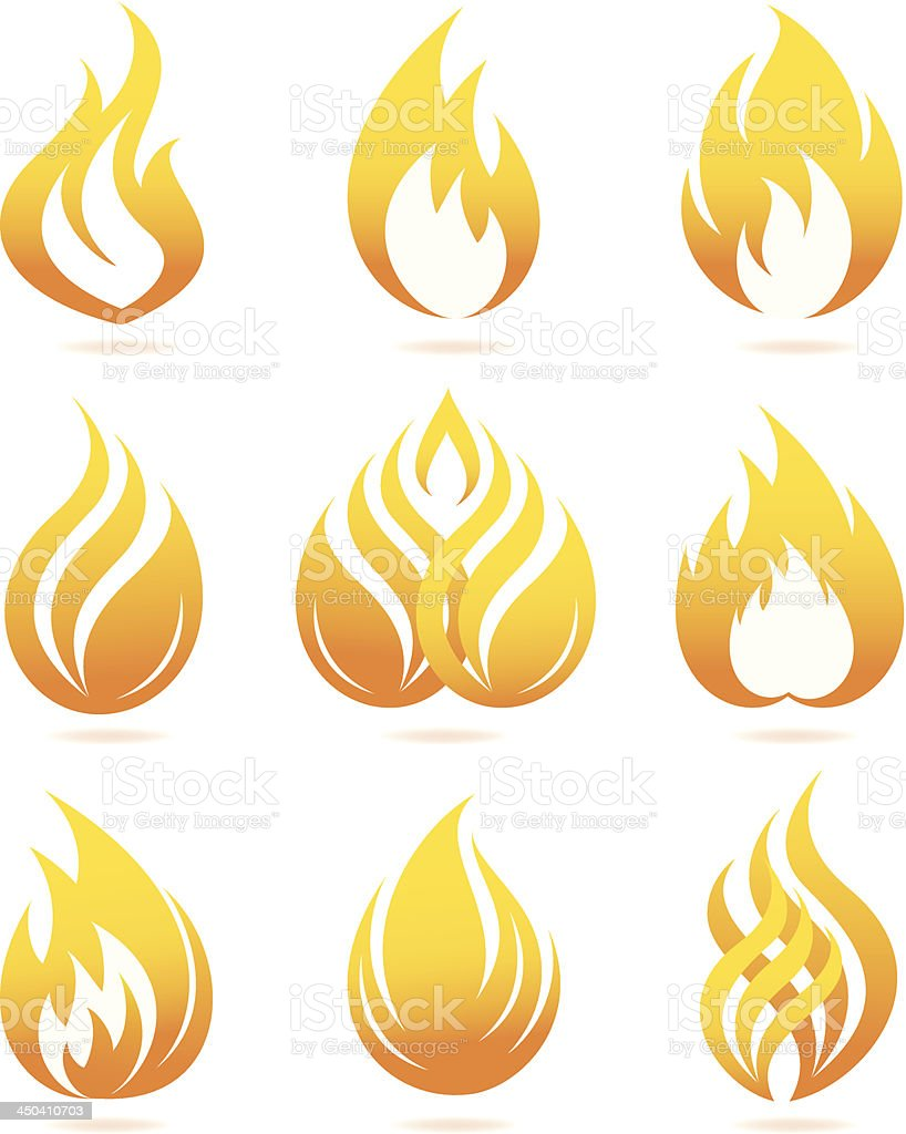 Fire icons set vector art illustration