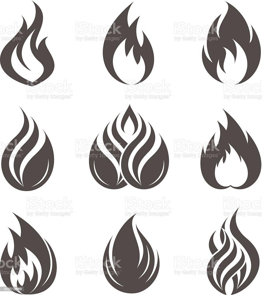 Fire icons set vector art illustration