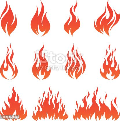 Vector set of various fire icons