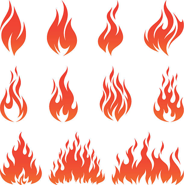 Fire icons Vector set of various fire icons flame stock illustrations