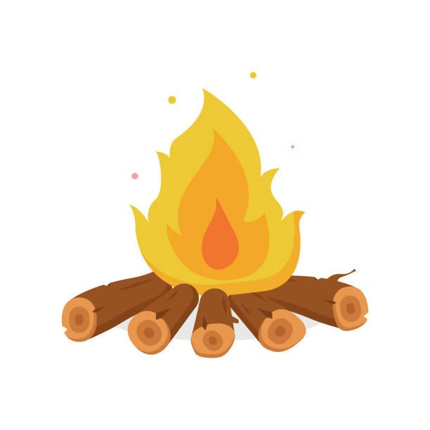 illustrazioni stock, clip art, cartoni animati e icone di tendenza di fire illustration and bonfire cartoon style flat design. - falò