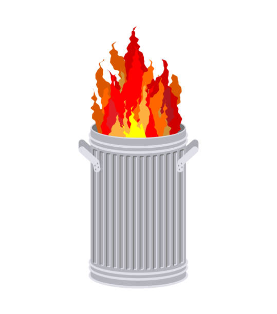 Fire In garbage can. Trash can burns. Fire In garbage can. Trash can burns. dumpster fire stock illustrations