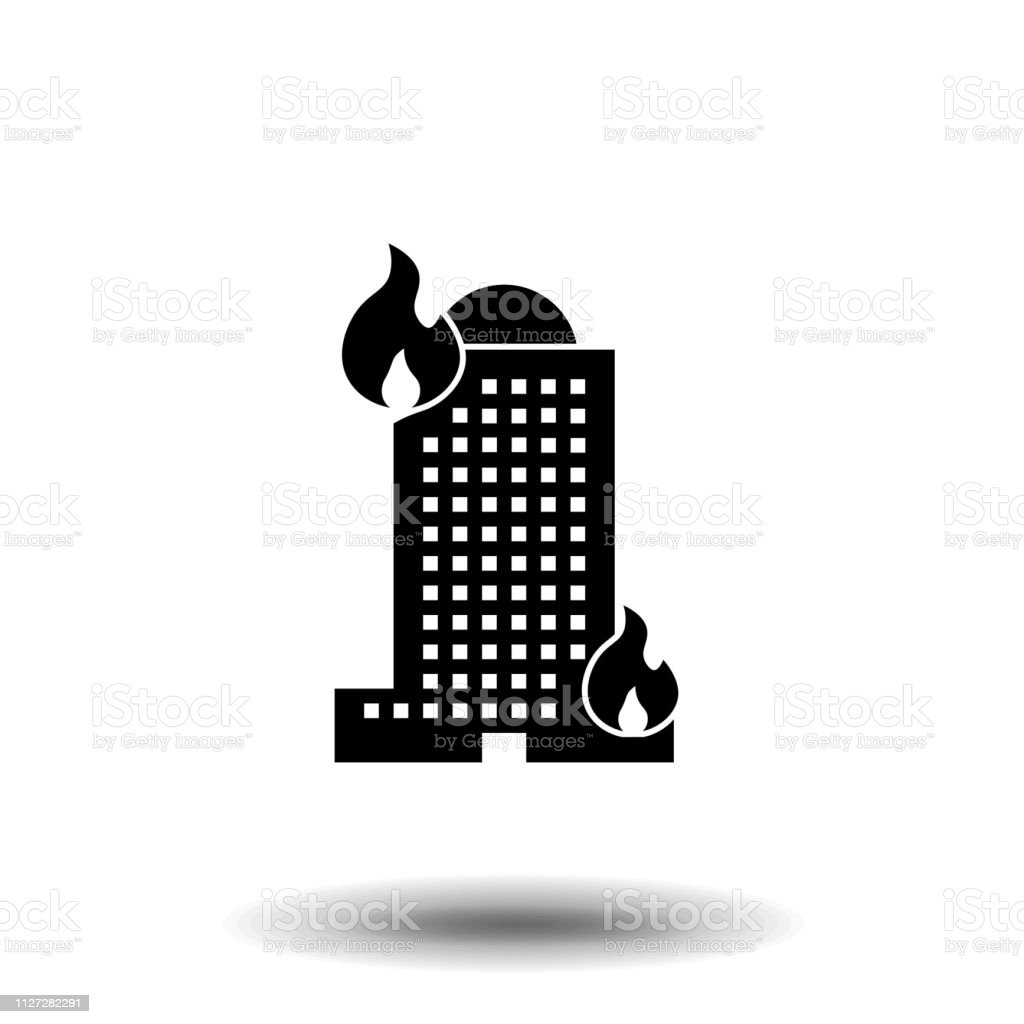 Fire in the house icon vector isolated on white background, Fire in...