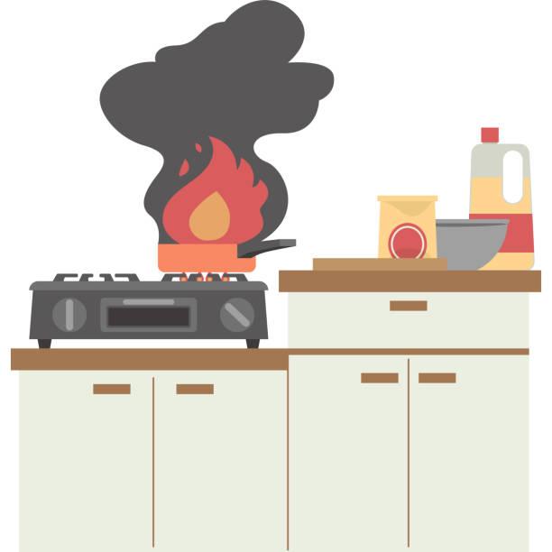火災のキッチン ベクターアートイラスト