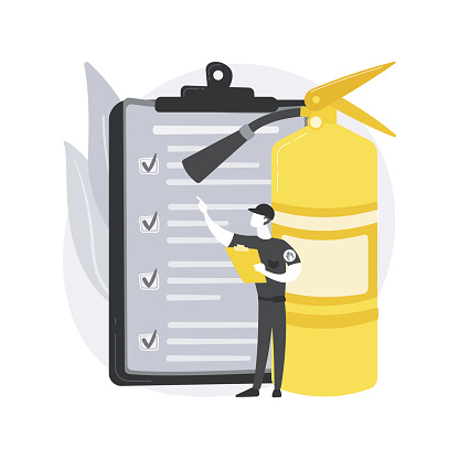 Fire inspection abstract concept vector illustration.