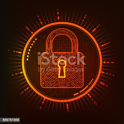concept of online security, shape of futuristic key combined with electronic board
