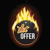 Fire label with original lettering Hot. Illustration for business promotion (sale, offer, price and deal). For posters, icons, logotypes, cards, print and web projects.