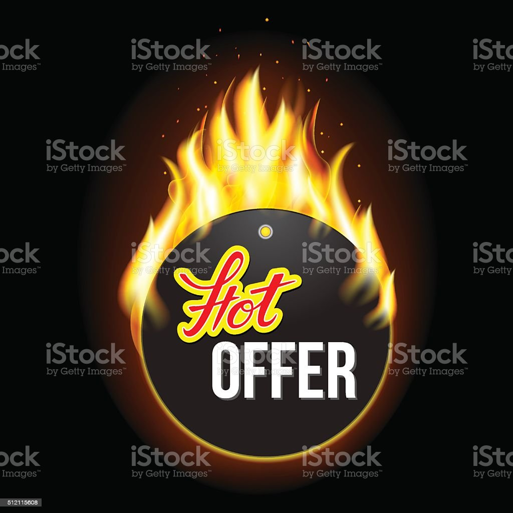 Fire label with original lettering Hot vector art illustration